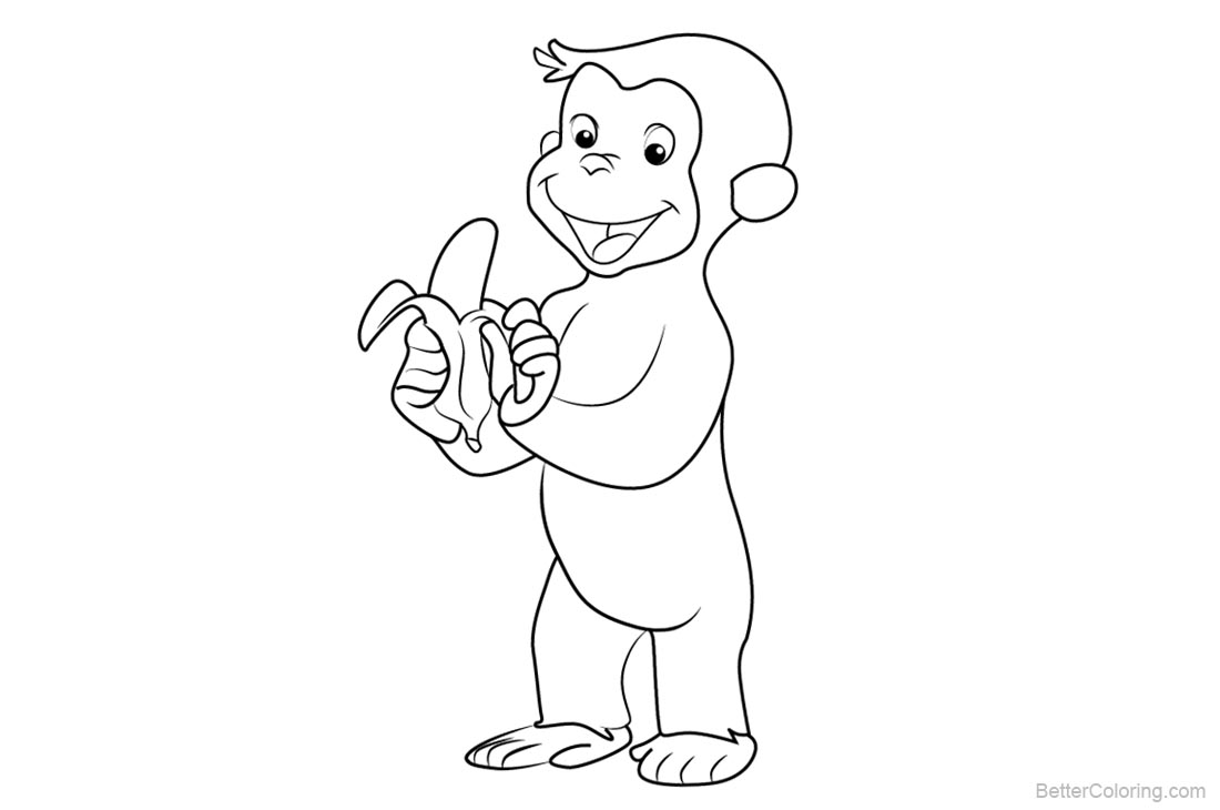 Curious George Coloring Pages Monkey Eating Banana - Free Printable ...