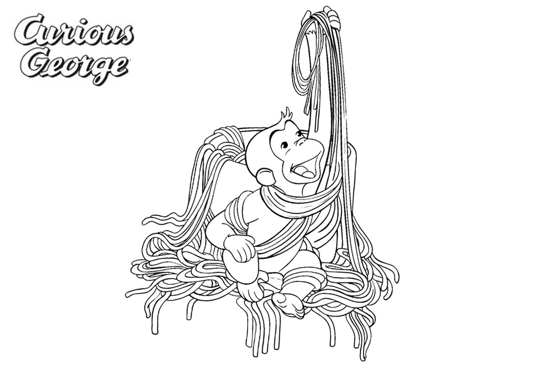 Curious George Coloring Pages Noodles Free Printable Coloring Pages