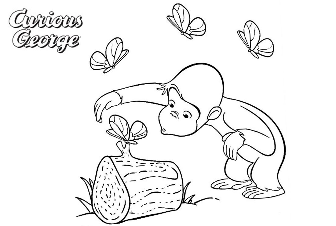 Curious George Coloring Pages Play with Butterflies printable for free