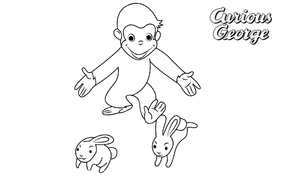 Curious George Coloring Pages Play with Two Rabbits printable for free
