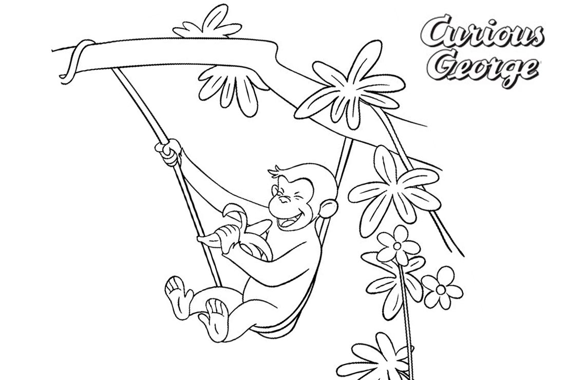 Curious George Coloring Pages Playing on the Tree printable for free