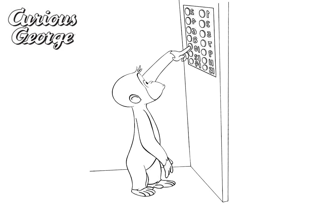 Curious George Coloring Pages Take Lift printable for free