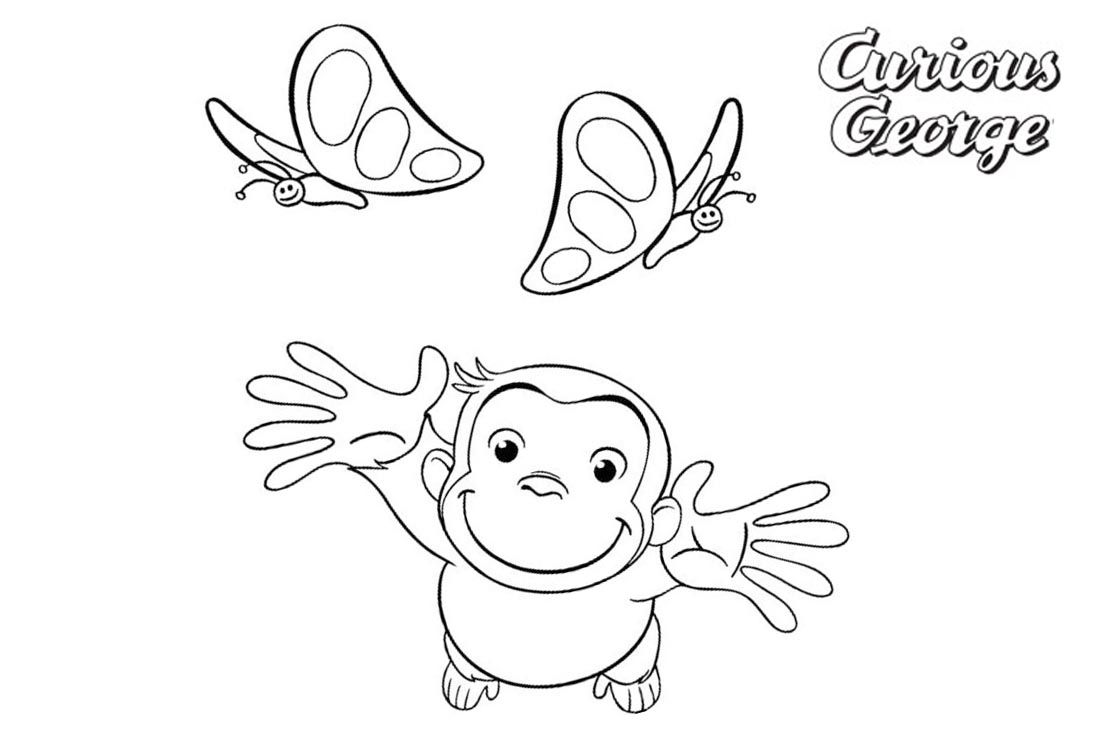 Curious George Coloring Pages Two Butterflies printable for free