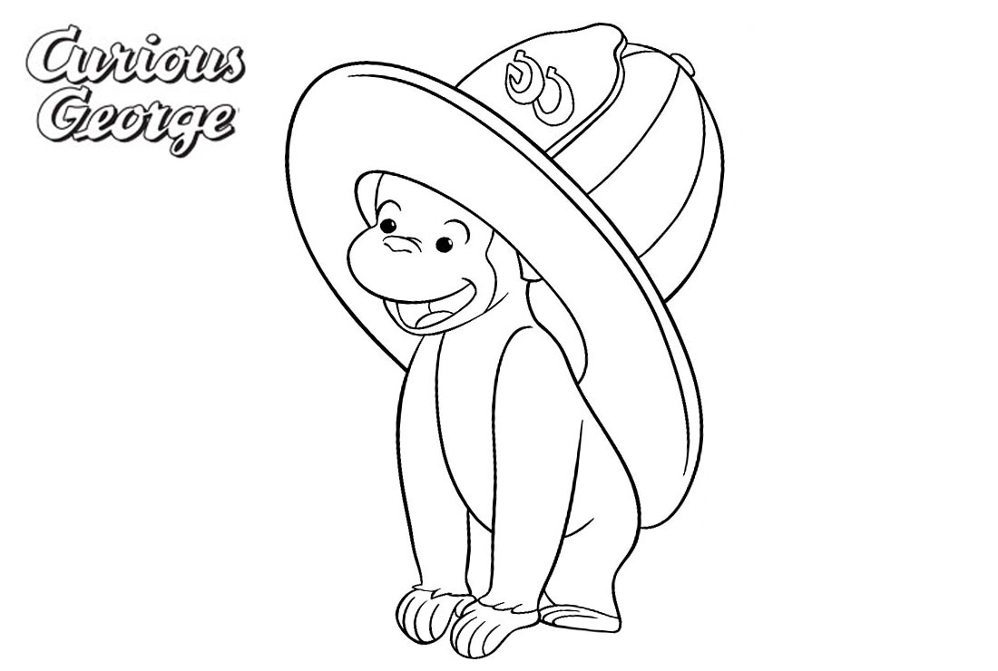 Curious George Coloring Pages with A Big Hat printable for free