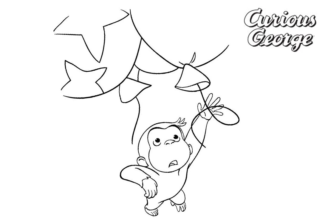 Curious George Coloring Pages With Balloons Free Printable