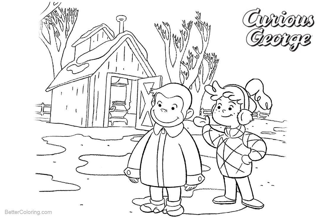 Curious George Coloring Pages with Friend Allie printable for free