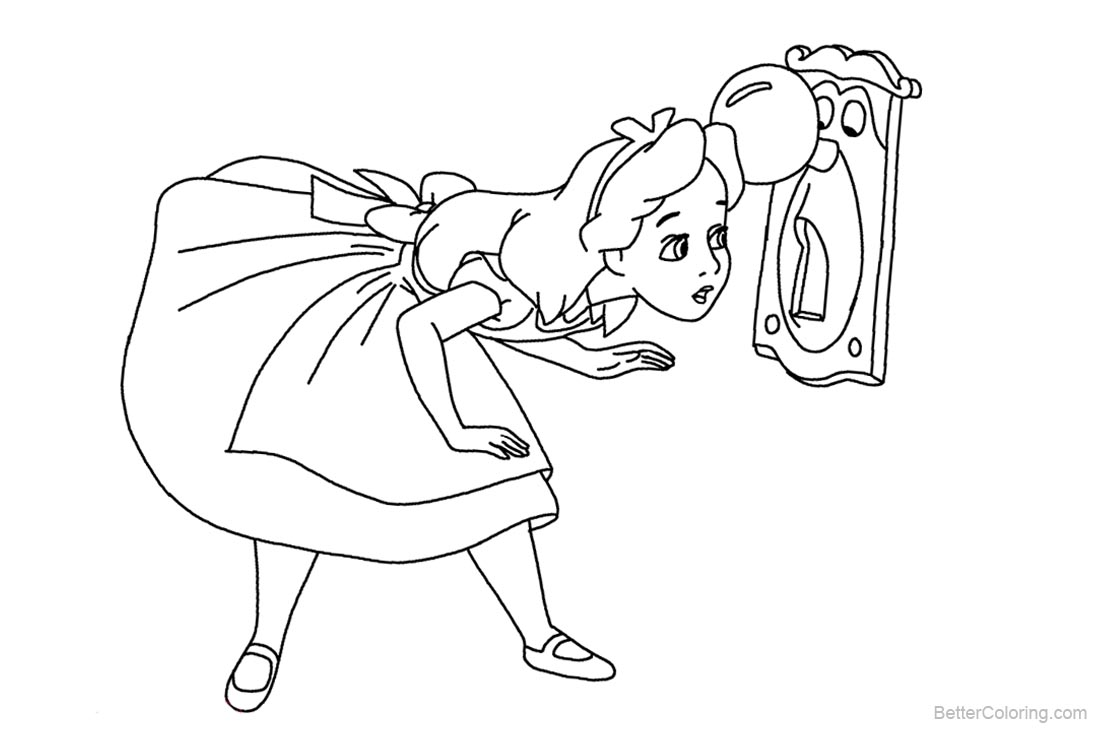 Cute Alice in Wonderland Coloring Pages printable for free