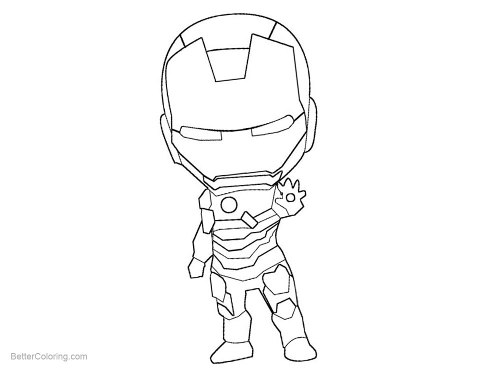 Cute Chibi Iron Man Coloring Pages
