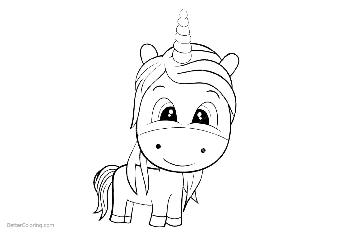 Cute Chibi Unicorn Coloring Pages
