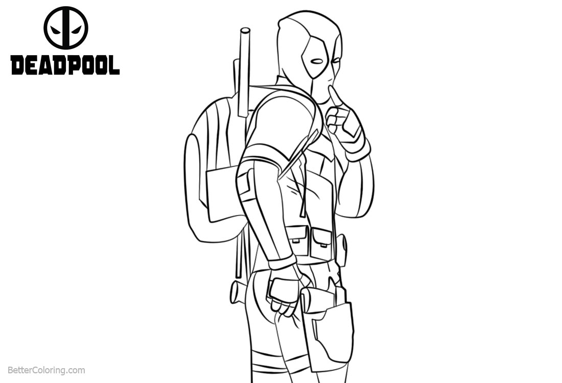 Cute Deadpool Coloring Pages printable for free