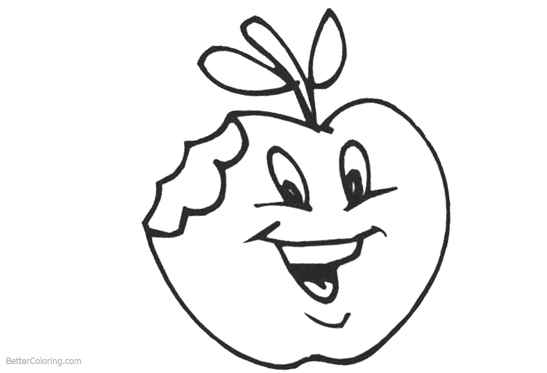 Cute Food Apple Coloring Pages printable for free