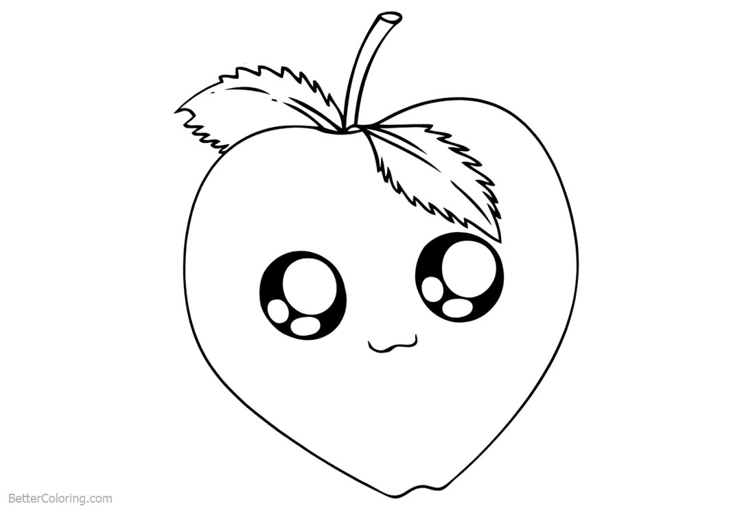 Cute Food Coloring Pages Apple