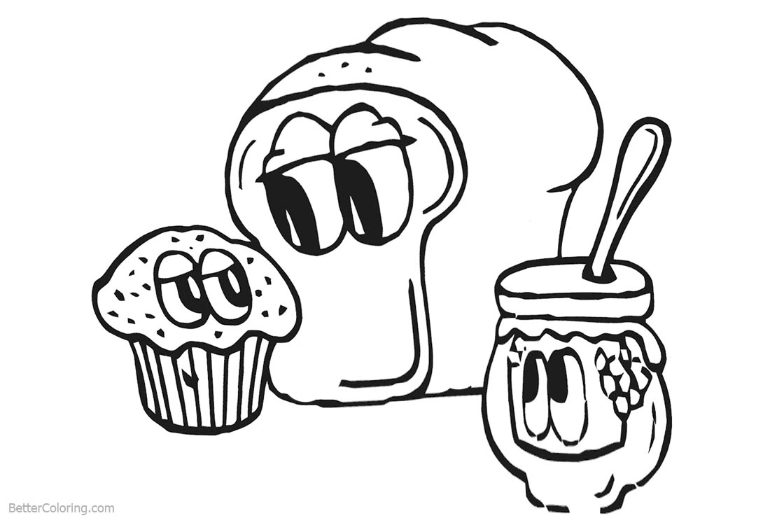 Cute Food Coloring Pages Bread Cupcake and Jam printable for free