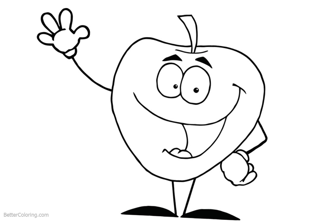 Cute Food Coloring Pages Cartoon Apple Say Hi printable for free