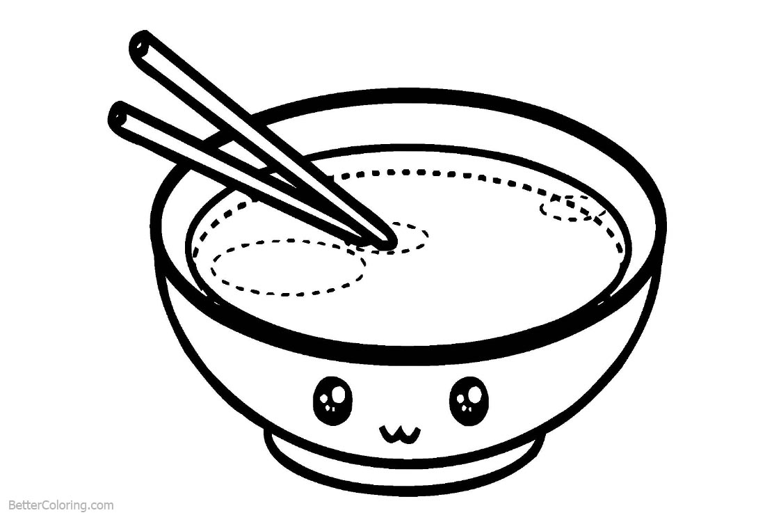 Cute Food Coloring Pages Cartoon Bowl with Eyes printable for free