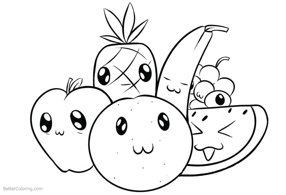 Cute Food Coloring Pages Cartoon