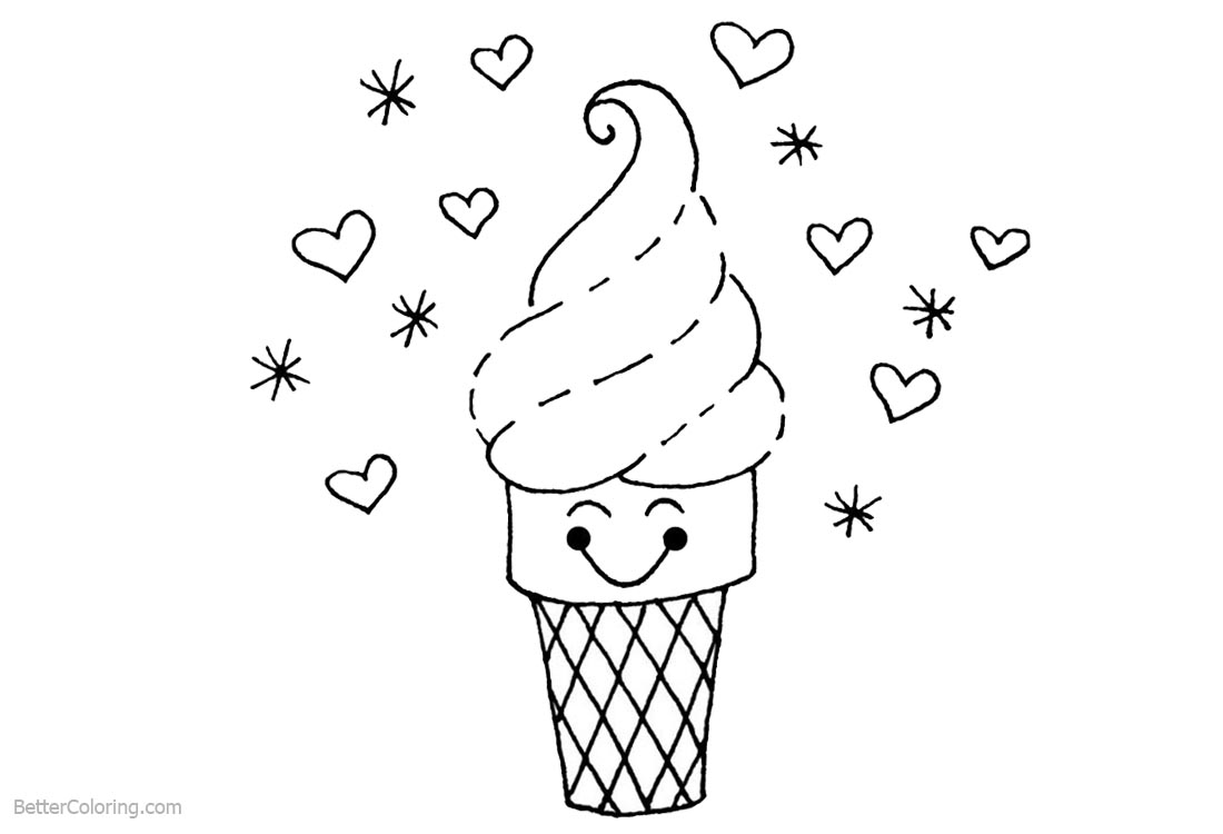 Cute Food Coloring Pages Cartoon Ice Cream printable for free