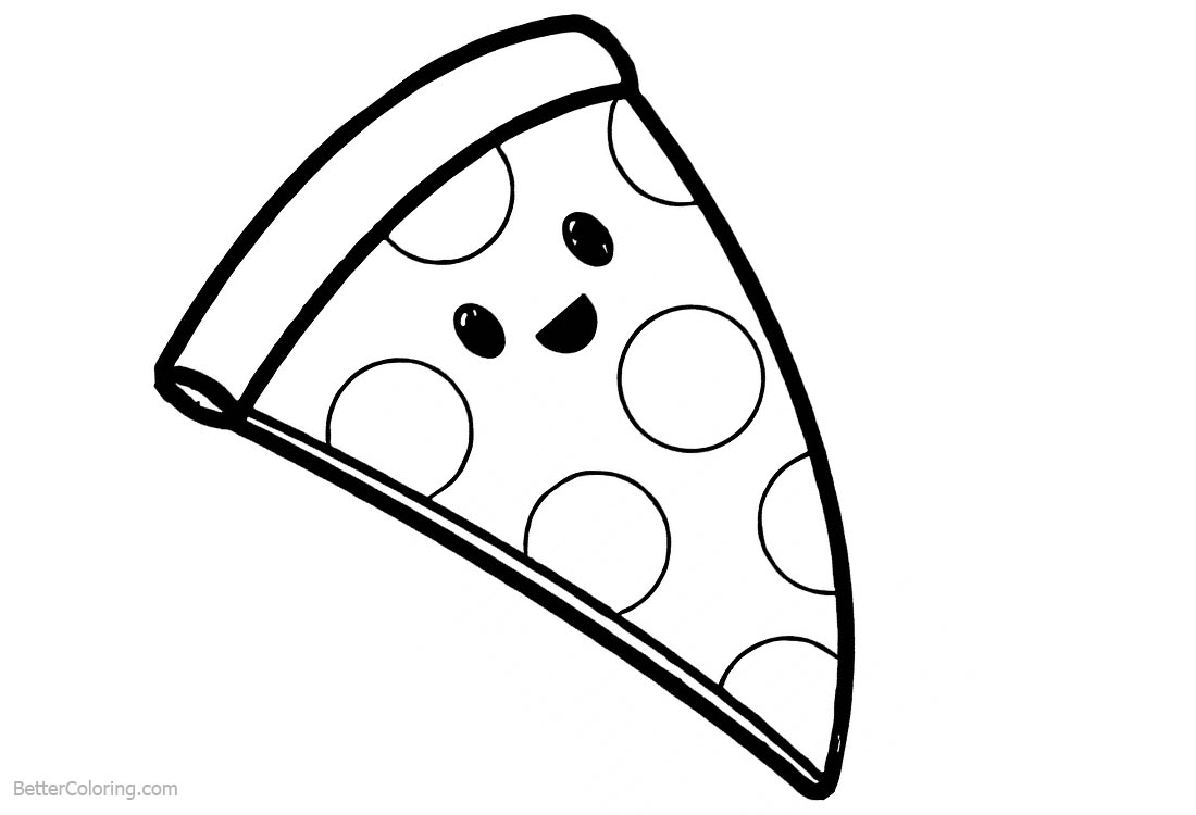 Food to coloring pages ~ Cute Food Coloring Pages Cartoon Pizza - Free Printable ...
