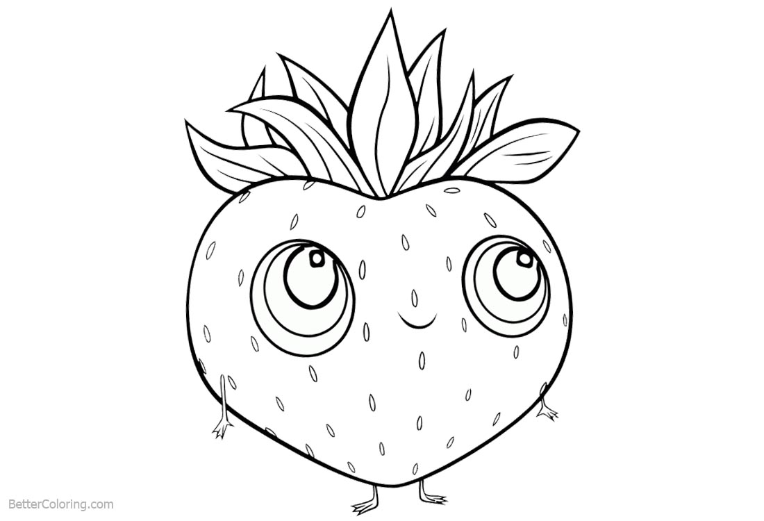 Cute Food Coloring Pages Cartoon Strawberry with Hands and Feet printable for free