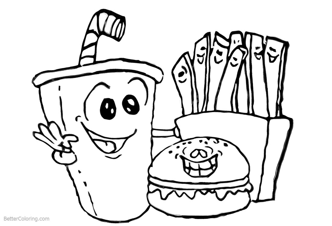 Cute Food Coloring Pages Drink Hamburger and Fries printable for free