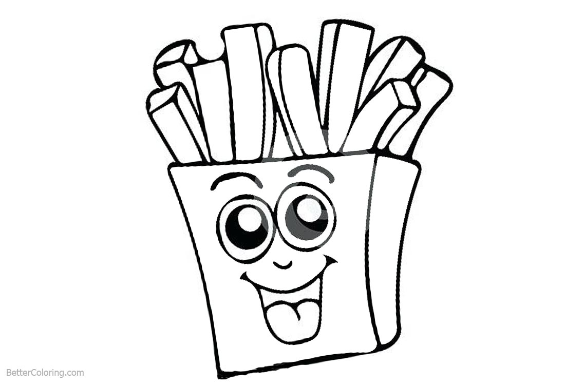 Cute Food Coloring Pages French Fries printable for free