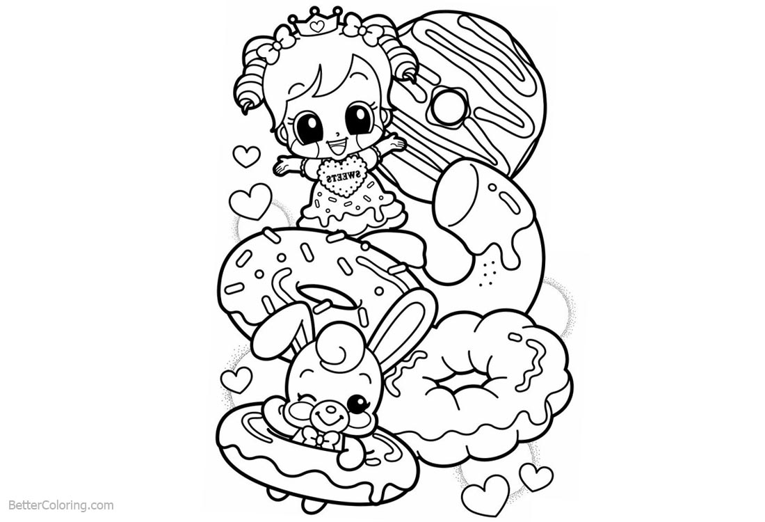 Cute Food Coloring Pages Girl Rabbit and Donuts printable for free