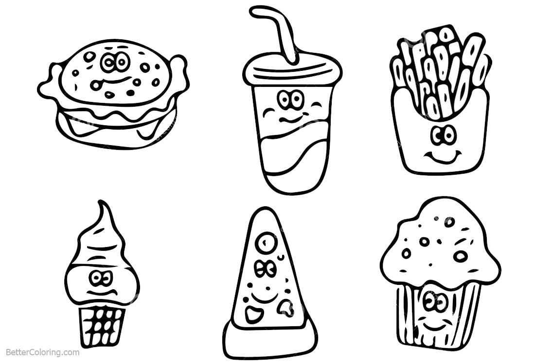 Cute Food Coloring Pages Hand Drawing