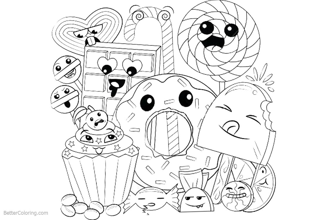 Cute Food Coloring Pages Happy Cartoon Dessert printable for free