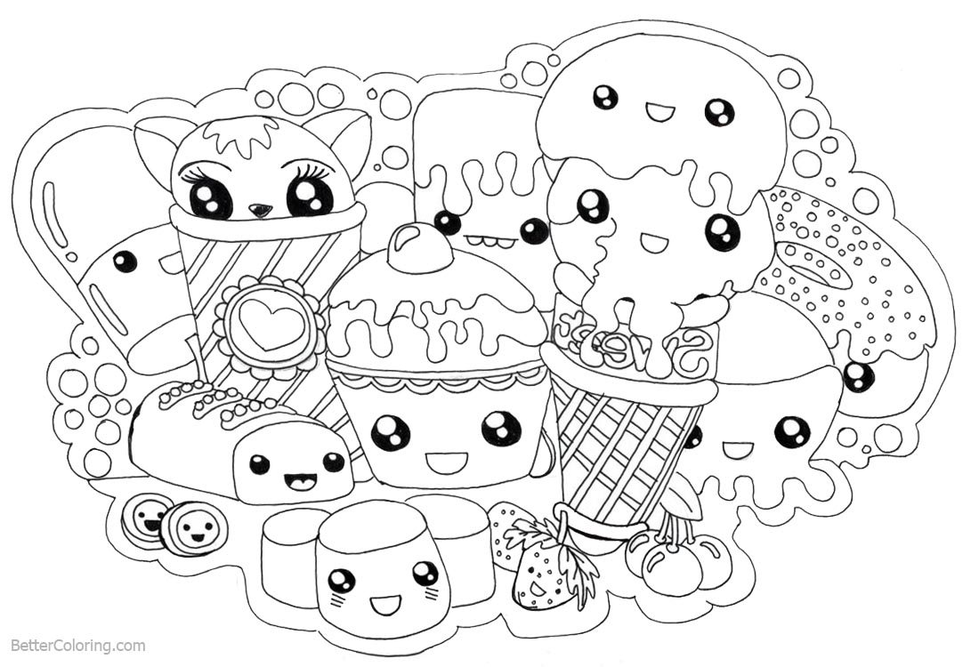Cute Food Coloring Pages Kawaii Foods printable for free