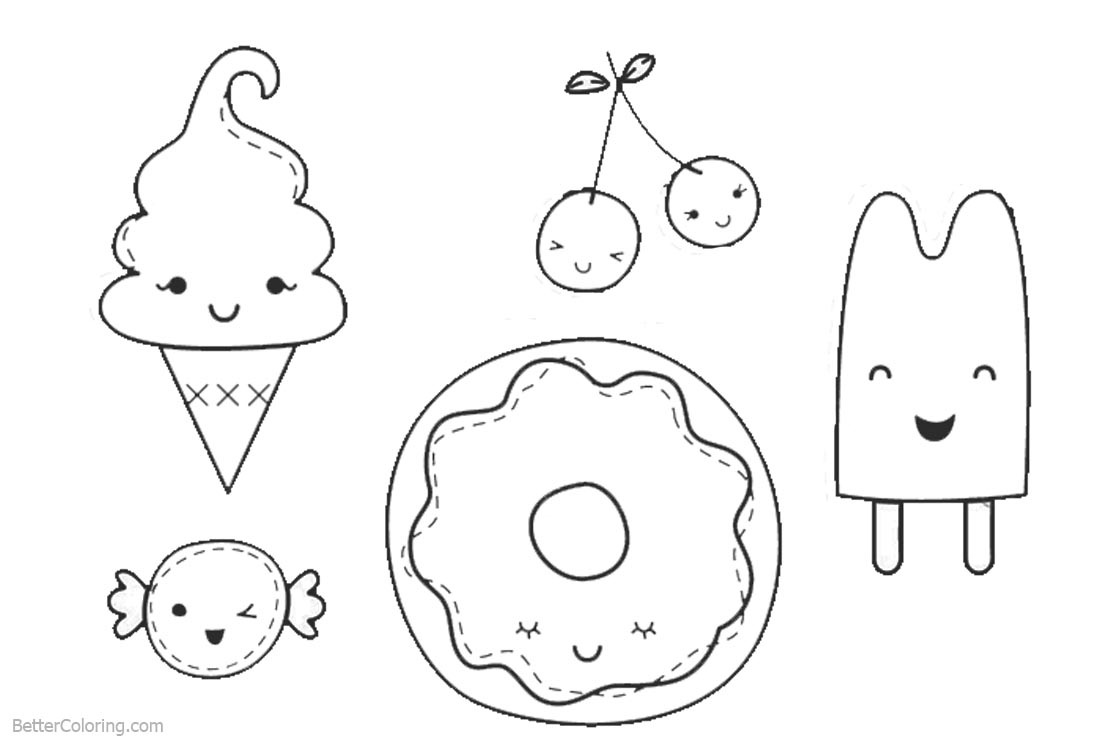 Cute Food Coloring Pages Line Drawing printable for free