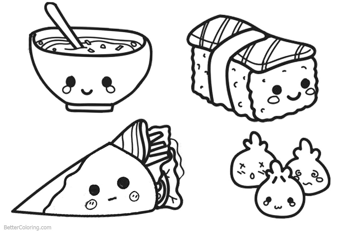 Food to coloring pages ~ Cute Food Coloring Pages Lineart - Free Printable Coloring ...