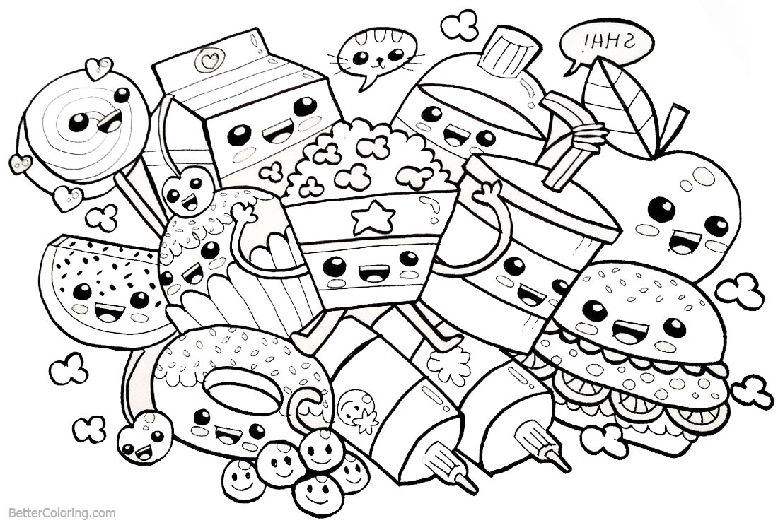 Cute Food Coloring Pages Many Snacks printable for free