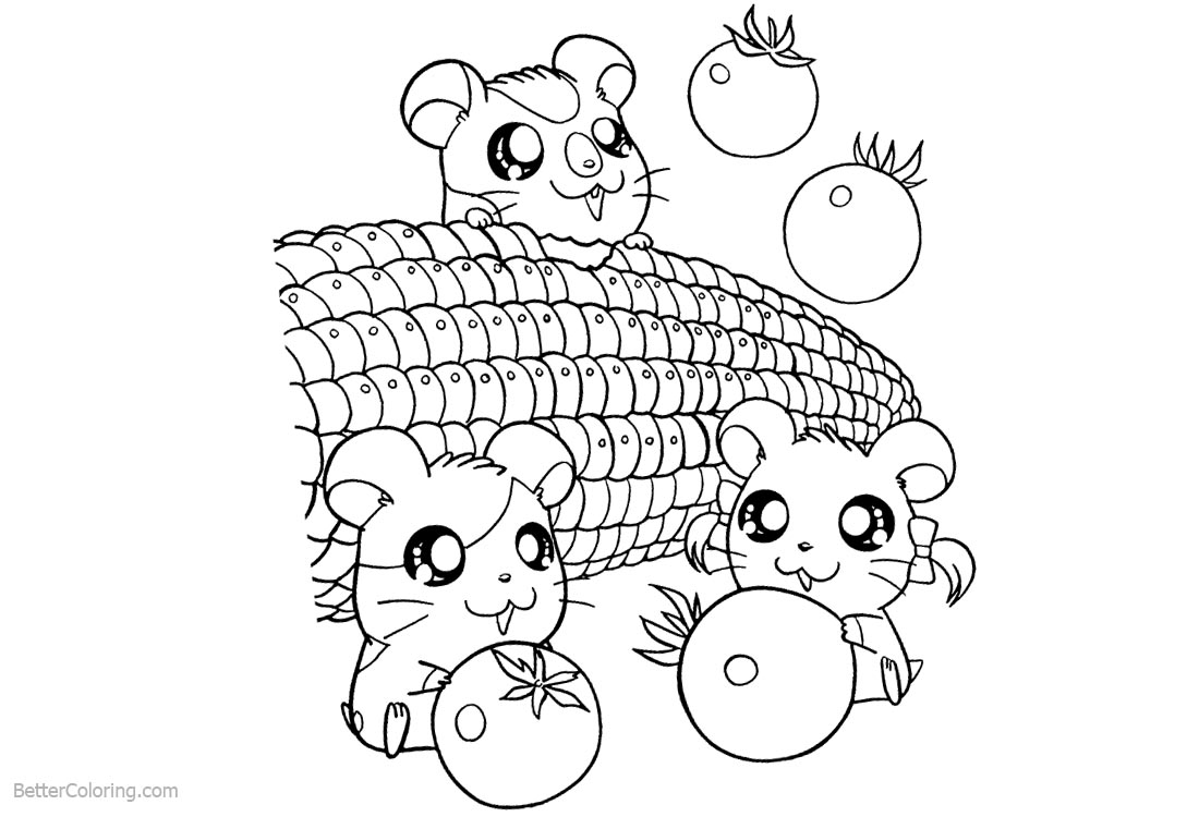 Cute Food Coloring Pages Mouse with Corn and Tomato - Free Printable ...