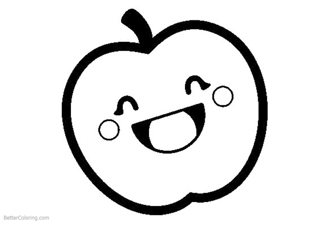 Cute Food Coloring Pages Smiling Apple printable for free