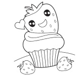 Cute Food Coloring Pages Happy Cartoon Dessert Free Printable