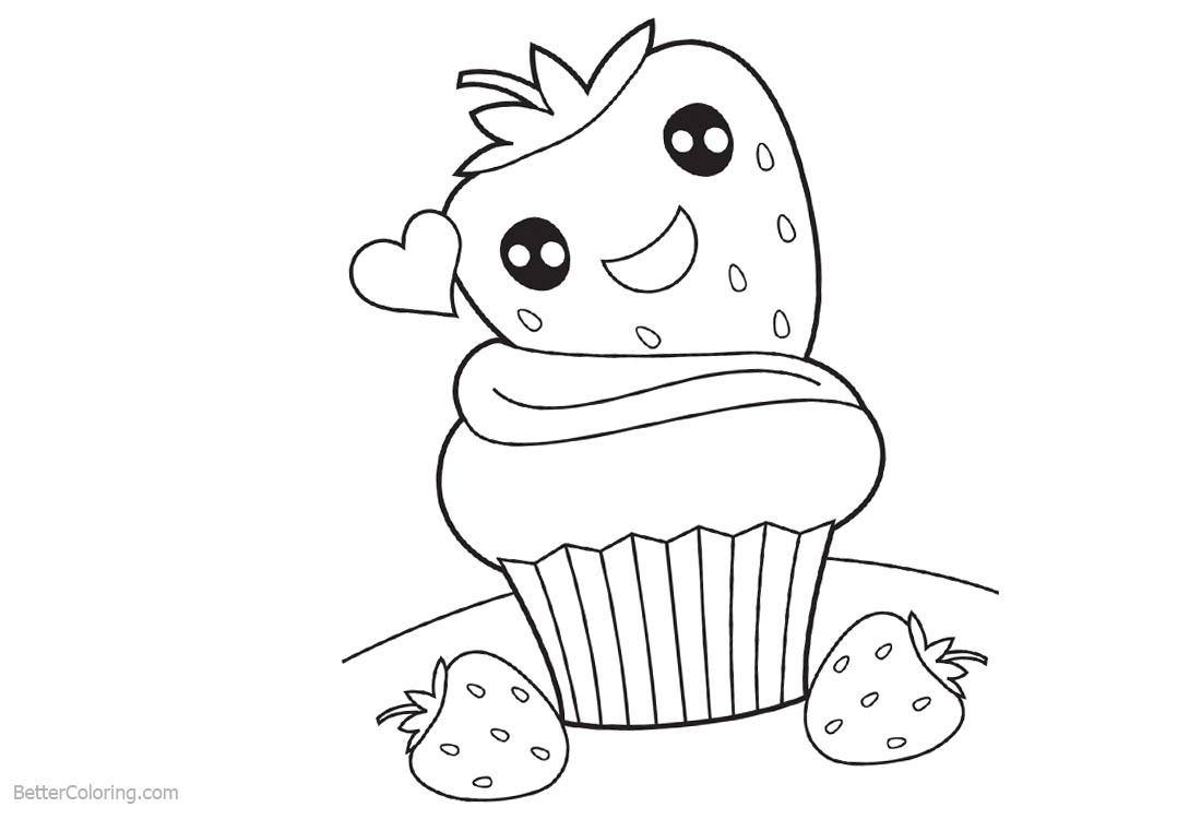 Cute Food Coloring Pages Strawberry Cake printable for free