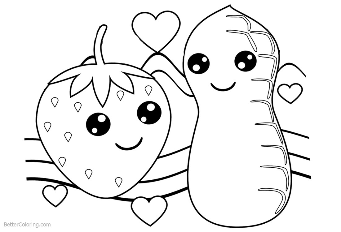 Cute Food Coloring Pages Strawberry and Peanut printable for free