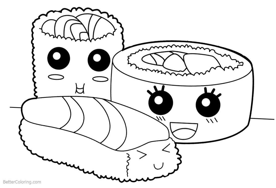 Cute Food Coloring Pages Sushi printable for free