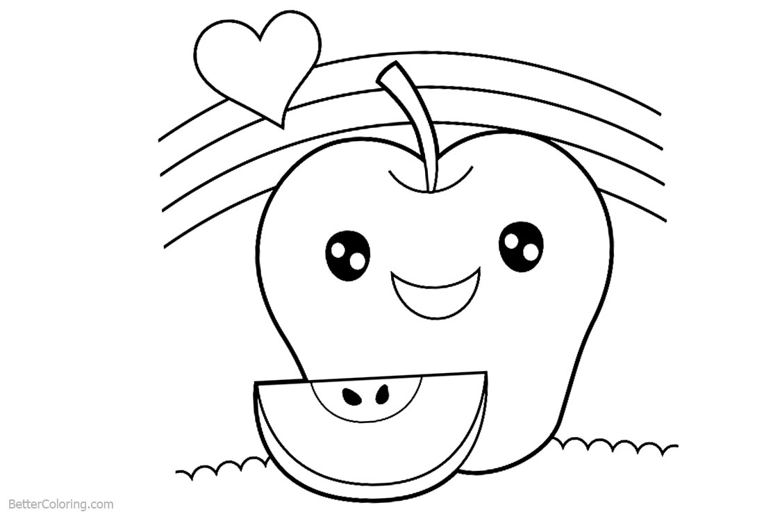 Cute Food Coloring Pages Sweet Apple With Heart Lineart printable for free