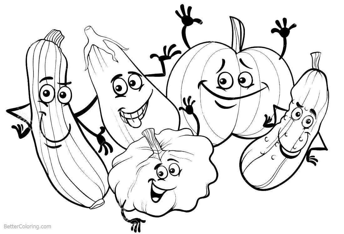 Cute Food Coloring Pages Vegetables printable for free