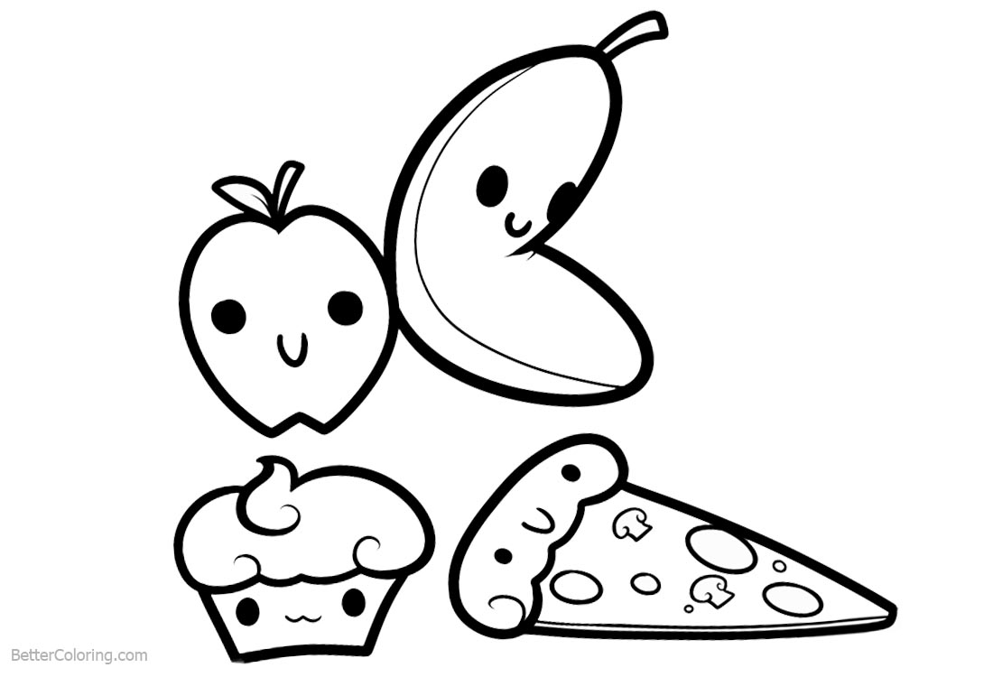Cute Food Coloring Pages printable for free