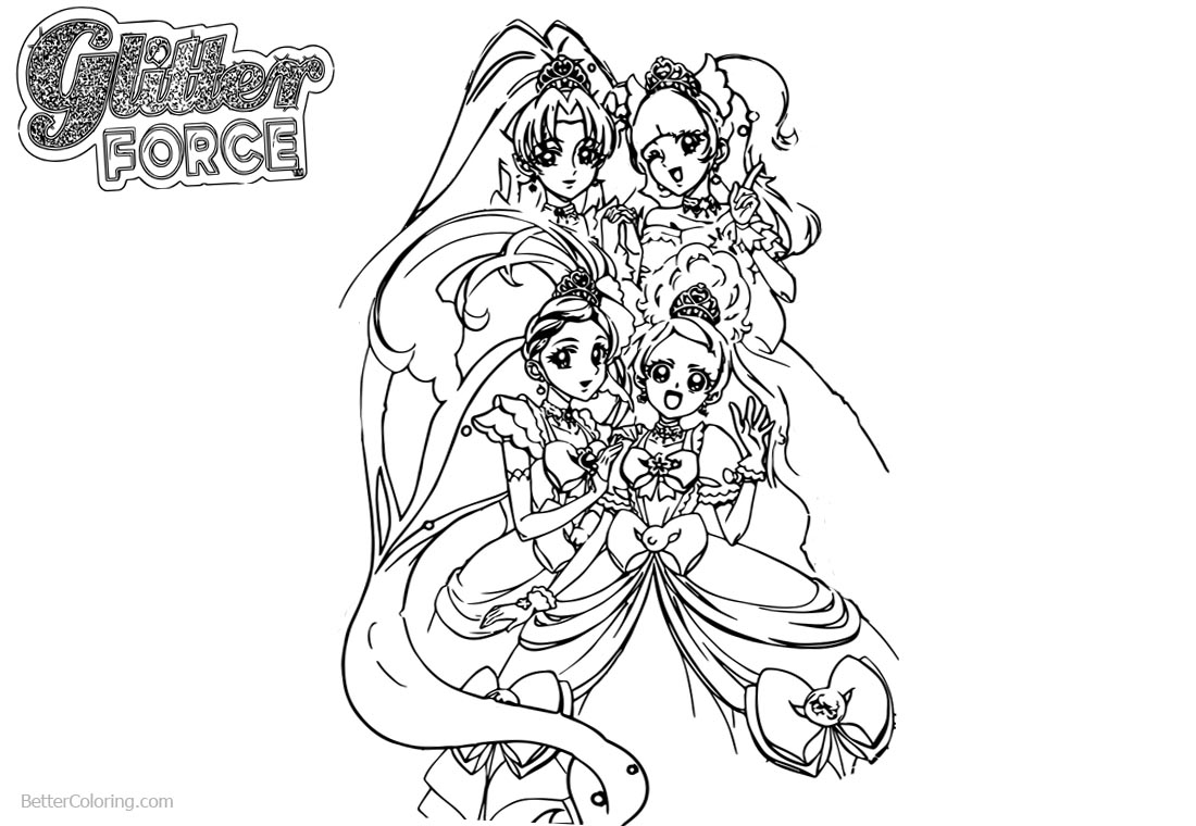 Cute Glitter Force Coloring Pages printable for free