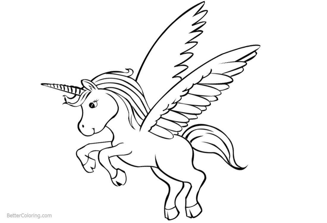 Cute Unicorn Coloring Pages with Wings - Free Printable ...