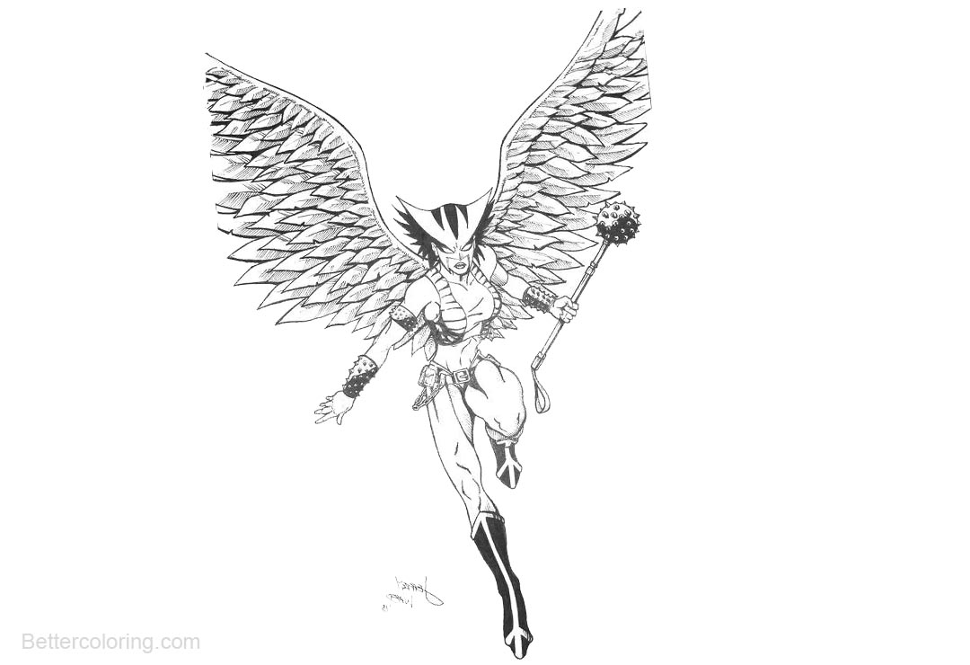 Free DC Comics Hawkgirl Coloring Pages printable
