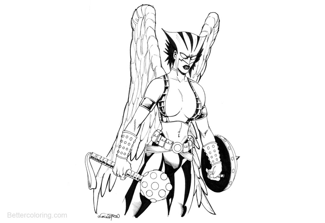 Free DC Justice League Hawkgirl Coloring Pages printable
