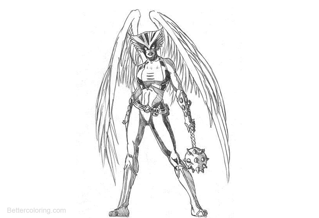 DC Super Girl Hawkgirl Coloring Pages - Free Printable Coloring Pages