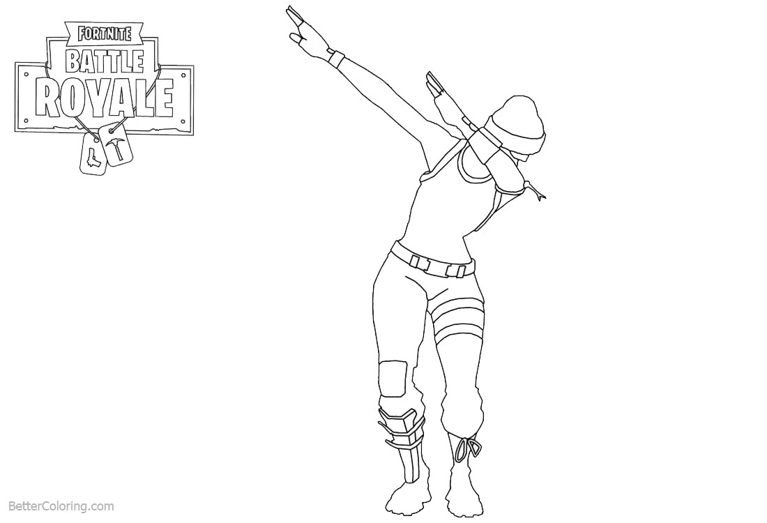 Dab from Fortnite Coloring Pages printable for free