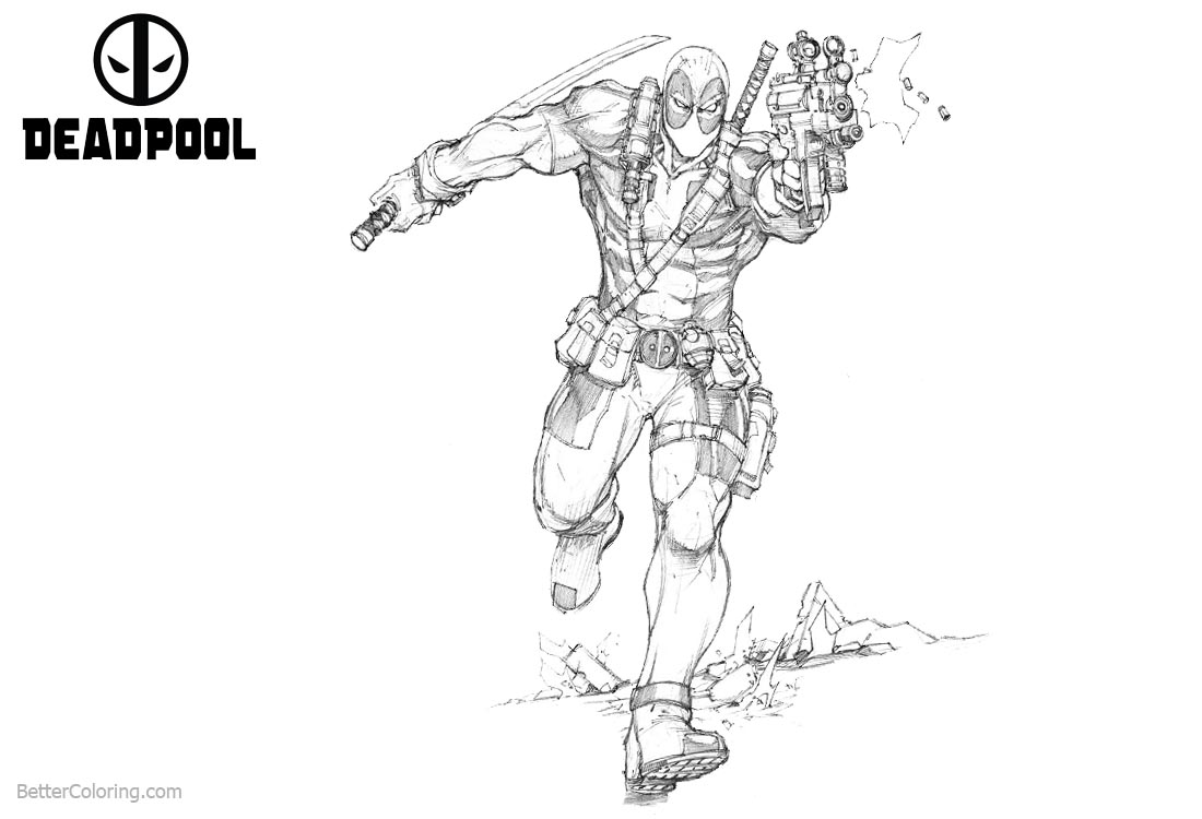 Deadpool 2 Coloring Pages Fan Art printable for free