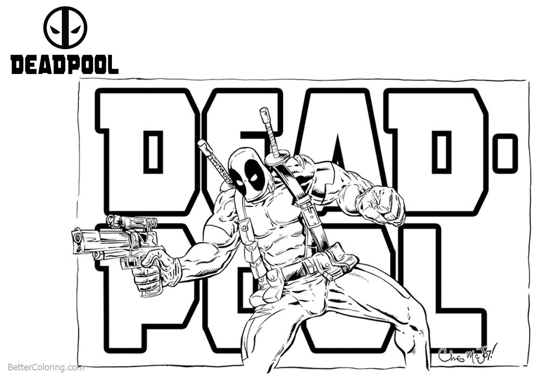 Deadpool 2 Coloring Pages with Letters printable for free
