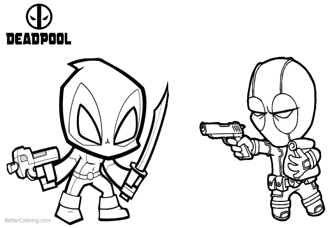 Deadpool Coloring Pages Attack Spiderman printable for free